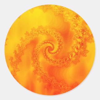Fire Fractal Spiral: Classic Round Sticker