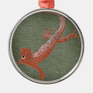 Fire Gecko Design Silver-Colored Round Decoration