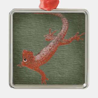 Fire Gecko Design Silver-Colored Square Decoration