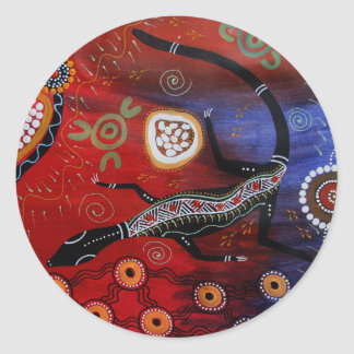 Fire Goanna Dreaming Classic Round Sticker