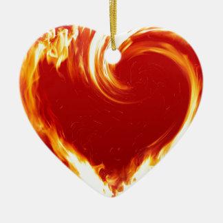 fire-heart ceramic heart decoration