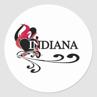 Fire Heart Indiana Classic Round Sticker