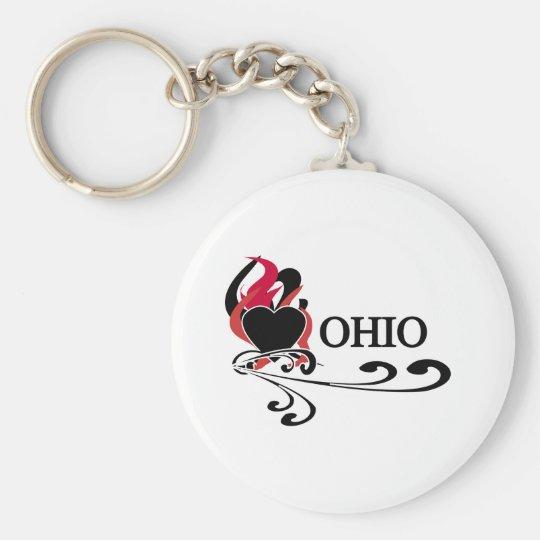 Fire Heart Ohio Key Ring