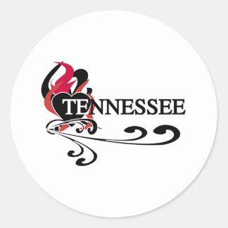 Fire Heart Tennessee Round Sticker