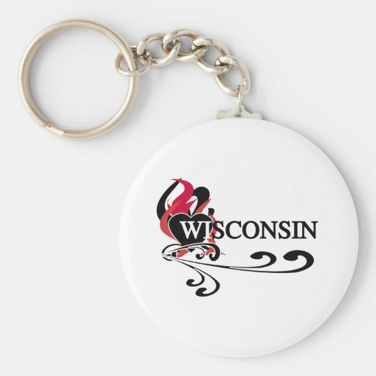 Fire Heart Wisconsin Basic Round Button Key Ring