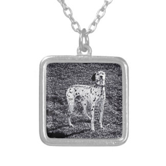 Fire House Dalmatian Dog in Black and White Ink Square Pendant Necklace