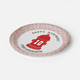 Fire Hydrant + Bricks Firefighter Birthday Party 7 Inch Paper Plate