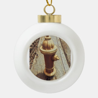 Fire Hydrant Ceramic Ball Christmas Ornament