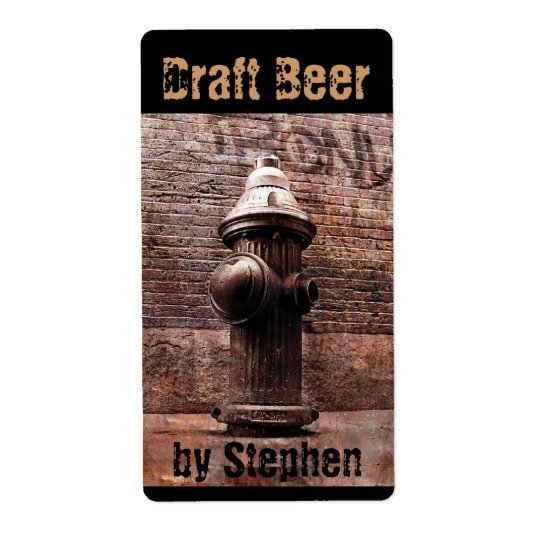 Fire hydrant draught   beer bottle label shipping label