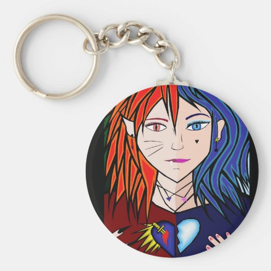 Fire Ice girl anime Key Ring