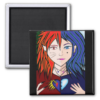 Fire Ice girl anime Magnets