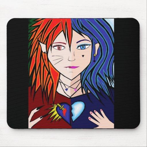 Fire Ice girl anime Mousepad