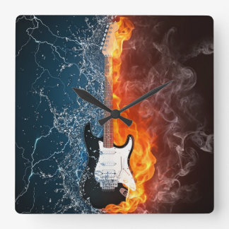 FIRE&ICE GUITAR SQUARE WALL CLOCK