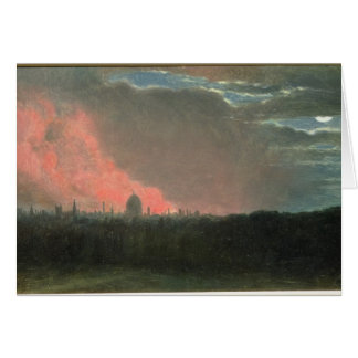 Fire in London seen from Hampstead (oil on paper l Card
