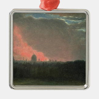 Fire in London seen from Hampstead (oil on paper l Silver-Colored Square Decoration