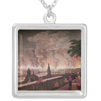 Fire in Moscow, September 1812. engraved by Square Pendant Necklace