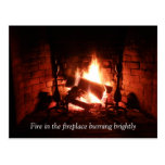 Fire in the Fireplace Post Cards