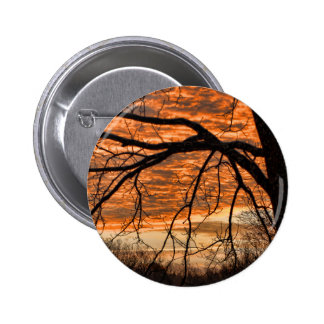 Fire in the Winter Morning Sky 6 Cm Round Badge
