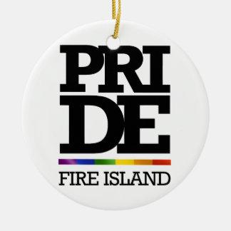 FIRE ISLAND PRIDE -.png Round Ceramic Decoration