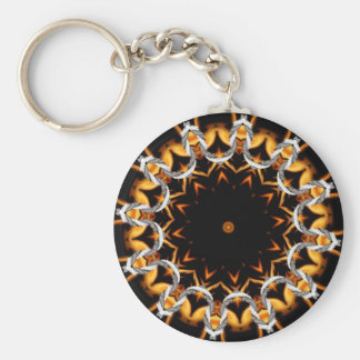 Fire Kaleidoscope Basic Round Button Key Ring