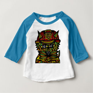 """Fire Kat"" Baby 3/4 Raglan T-Shirt"