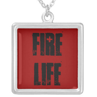 Fire Life necklace blk on red