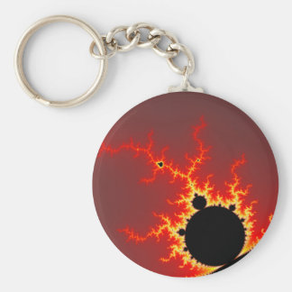 Fire Lightning Basic Round Button Key Ring