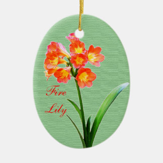 Fire Lily Ceramic Oval Decoration