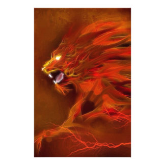 Fire lion artistic flames illustration personalized stationery