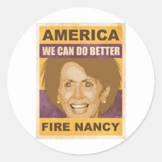 Fire Nancy Pelosi Round Sticker