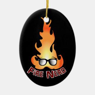 """Fire Nerd"" Cool Fire Ceramic Oval Decoration"