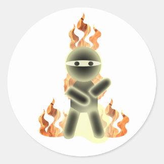 Fire Ninja (by lil kolohe Nick) Classic Round Sticker