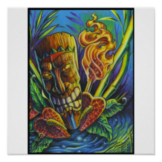 Fire of the Tiki god-print Poster