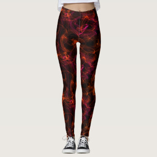 fire on a black background leggings