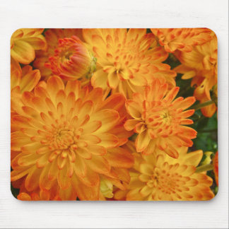 Fire Orange Chrysanthemums Mouse Mat