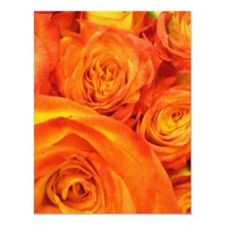 Fire Orange Roses 11 Cm X 14 Cm Invitation Card