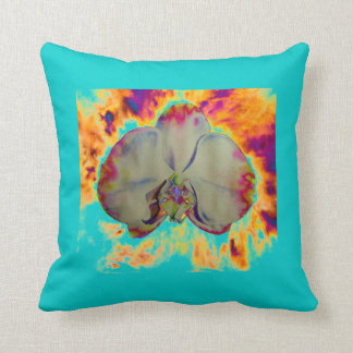 Fire Orchid  - turquoise Cushion