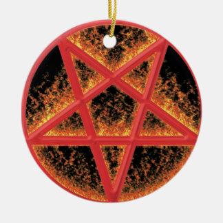 Fire Pentagram Round Ceramic Decoration