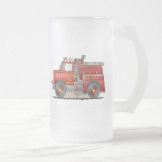 Fire Pumper Rescue Truck Frosted Glass Mug