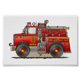 Fire Pumper Rescue Truck Poster