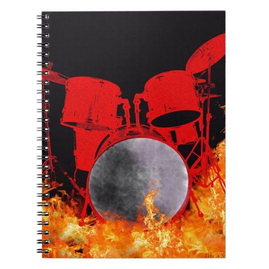 Fire Red Drums Spiral Notebook