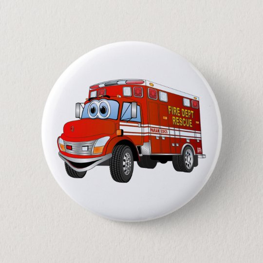 Fire Rescue Cartoon 6 Cm Round Badge