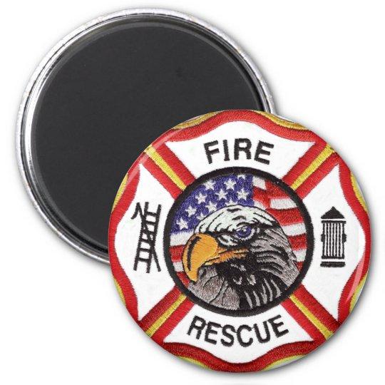 Fire Rescue Maltese Cross 6 Cm Round Magnet