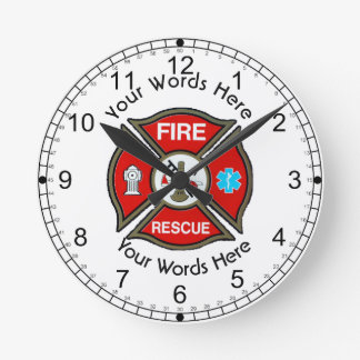 Fire Rescue Maltese Cross Round Clock
