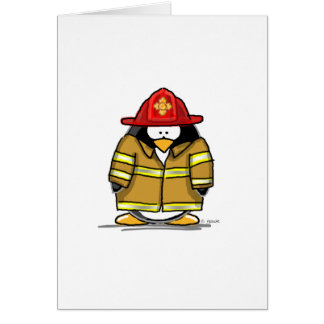 Fire Rescue Penguin Card