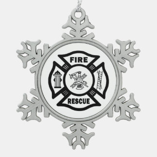 Fire Rescue Snowflake Pewter Christmas Ornament