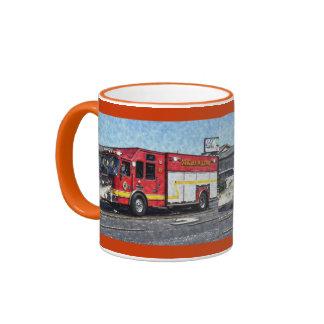Fire Rescue Truck Emergency Vehicle Ringer Mug