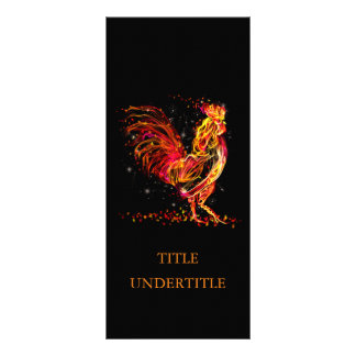 Fire rooster. Flaming animal sparkle cool design 10 Cm X 23 Cm Rack Card