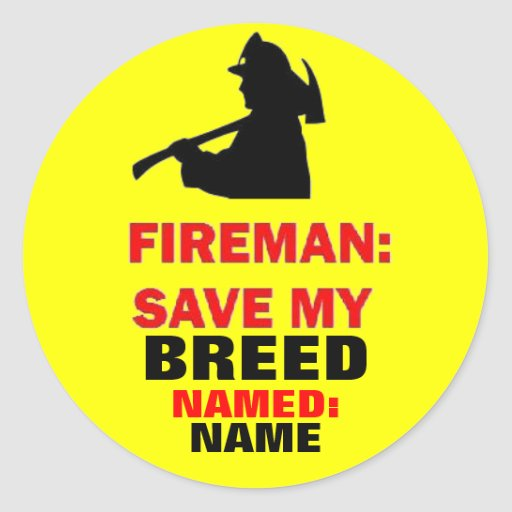 Fire Safety Custom Save My Pet Round Stickers