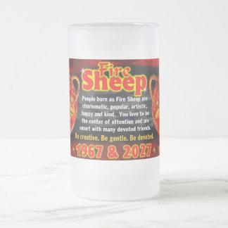Fire Sheep Zodiac 1967 2027 tall glass Coffee Mugs